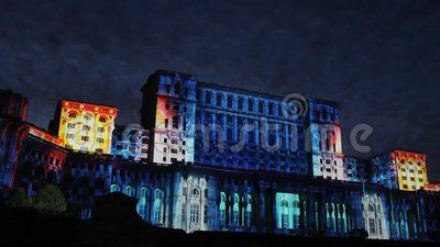 House of Parliament night at Bucharest, Romania - facade to Constitution Square projection lights at Bucharest Days.