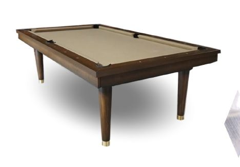 This Mid Century Modern Pool Table may be the only true to form billiards table in this Mid Century Style, It is spot on with the brass leg caps to boot.  Designers, homeowners and all Mid Century lovers although we are in Austin Texas we've been around since 1971 and are here to help you with this or one of our many other table styles.  Shuffleboards too. 512-454-2146