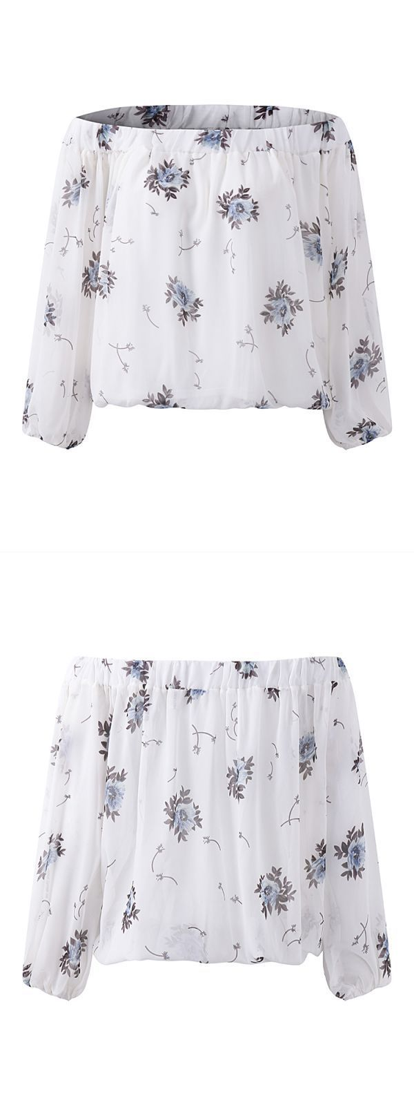 High Quality Women 8217 S Blouses Printed Off Shoulder Long Sleeve Blouse Casual
