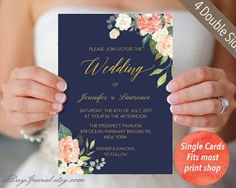 4 Double sided Navy Wedding Invitation Set Templates, Printable Peach Cream Floral Gold foil Invites Suite, Vistaprint, PDF Download #117