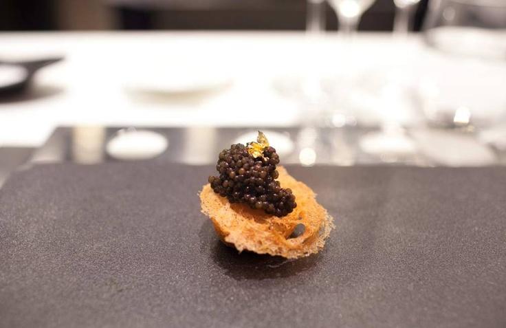 Caviar with smoked quail egg and crispy taro at Bo Innovation, Hong Kong -- Photograph by Andrea Chu