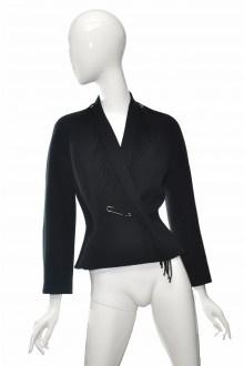 THIERRY MUGLER černé vlněné sako s třásněmi 38  #thierrymugler #sako #vlna #trasne