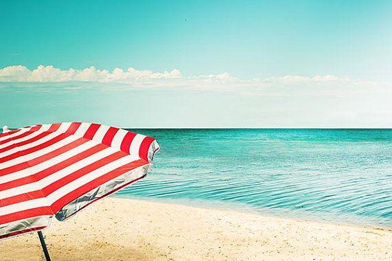 beach umbrella photography nautical decor fine art print 8x8 8x10 8x12 coastal ocean photo stripes retro teal wall art red white blue on Etsy, $23.00