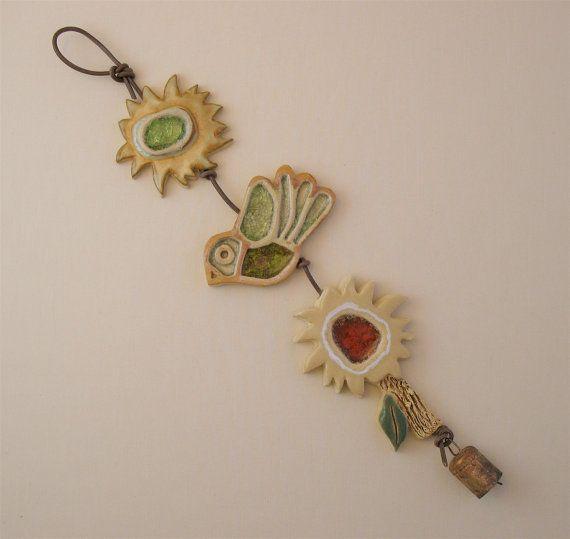 Clay & Glass Garden závěsný (3) - Sun, Bird, Flower, tavené sklo