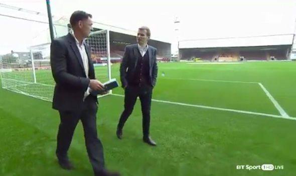BT Sport pundit Chris Sutton sent FLYING by rogue slide tackle as he presents on live TV - https://buzznews.co.uk/bt-sport-pundit-chris-sutton-sent-flying-by-rogue-slide-tackle-as-he-presents-on-live-tv -