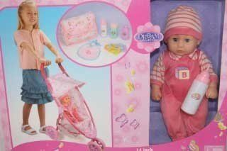 Dream Collection Baby Doll With Stroller Set By Gigi Toys
