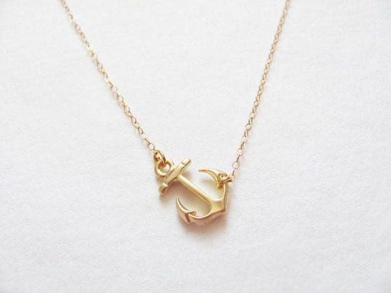 Sideways Gold Anchor Necklace - 14k Gold Filled Chain - Anchor Necklace - Gold Charm Necklace -  Necklace - Everyday Necklace. $20.00, via Etsy.