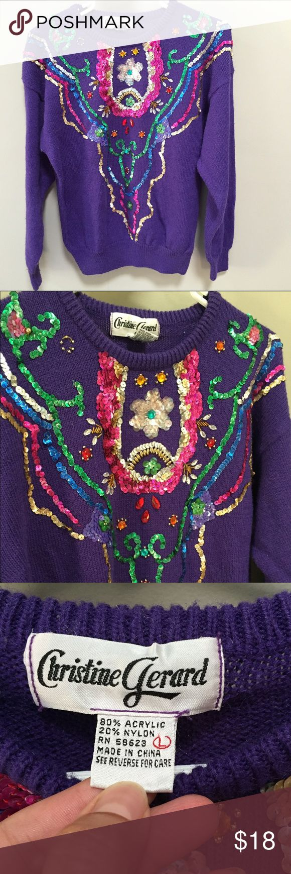 Vintage Sequined Sweater Purple Beaded Sweater, 1980s Vintage Sweater, Beverly Goldberg Sweater, Epic 80s Sweater, Sequined Sweater Christine Gerard Ugly Sweater M L Beautifully epic 80s sweater, in purple. dazzling with sequins and beadwork in many colors. Tag says L. Fits like M. Vintage Sweaters Crew & Scoop Necks