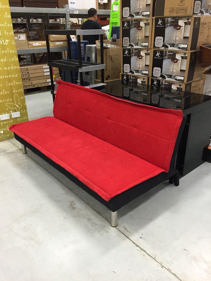 Sof cama versalles color rojo en sodimac escritorios for Sofa cama sodimac