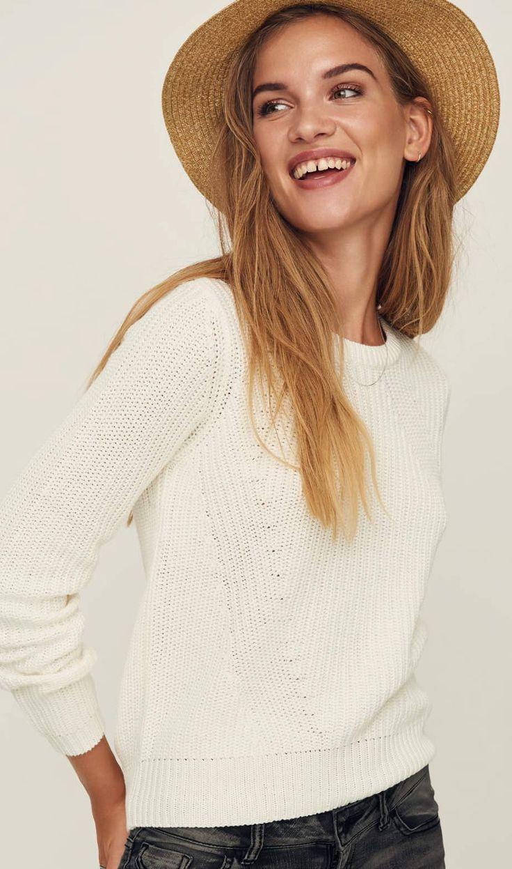 VERO MODA LEX - Strickpullover - Weiss ✓ Rechnungskauf ✓ 30 Tage Umtausch ✓ Gratis Versand ✓ Günstig Vero Moda Pulover für Damen bei Jeans-Meile online kaufen.