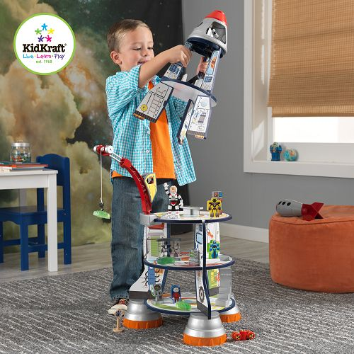 Rocket Ship Wooden Play Set ~ This Rocket Ship wooden play set by KidKraft will give budding little astronauts hours of entertainment as they prepare for take off, launch into space and explore the universe.  The rocket ship is set over five levels, including the cockpit, and is packed full of interactive features and detailed artwork.  It has a working crane for loading cargo, detachable parts so your child can simulate take off and astronauts, computers, robots and even an alien! £89.99