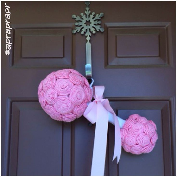 DIY rattle baby shower paper flowers winter party pink and silver