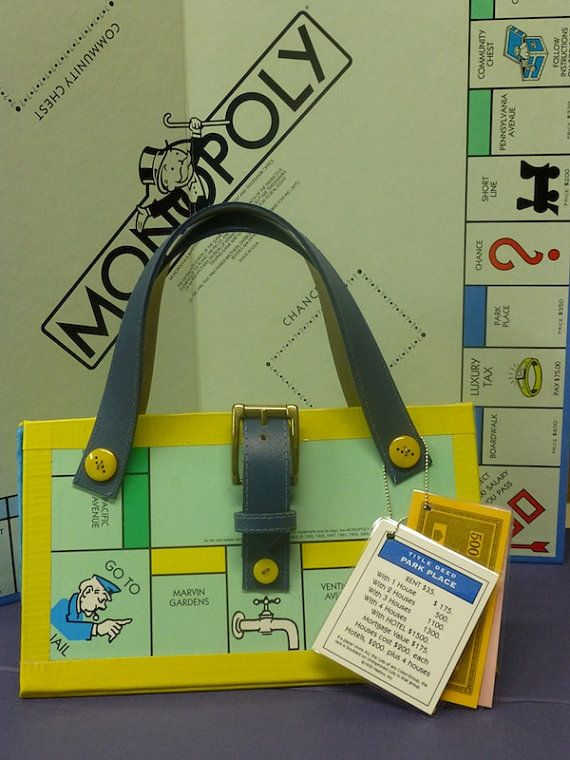Up-cycled Monopoly Board Game Purse Novelty Gift made from ...
