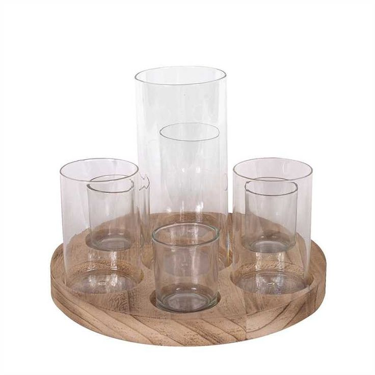 Round Wood Tray 7 Glass Votive Candle Holders Vase Country Casual Home Decor