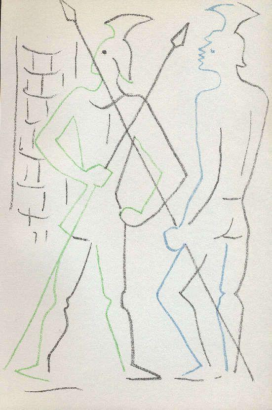 Jean COCTEAU-LITOGRAFIA ORIGINALE DI 1957