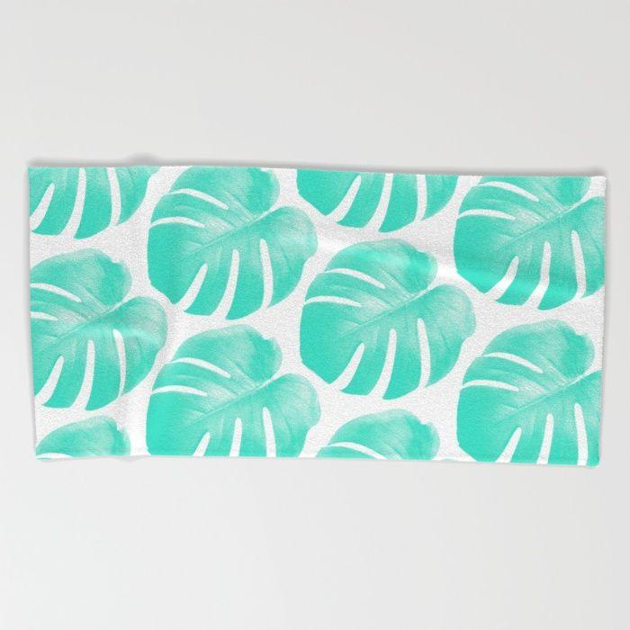 TROPIC - TURQUOISE - MONSTERA Beach Towel #beachtowel #towel #beachwear #beachaccessories #summerfashion #summeraccessory #tropicprint #monstera #summer #trend #trending #trendy #mint #turqouise