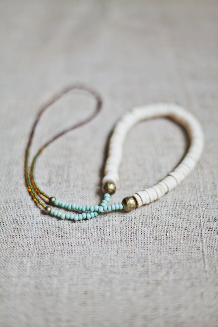 Beaded Boho Necklace / White - Mint Necklace. $28.00, via Etsy.