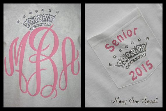 Senior QUEEN 2015 LONG Sleeve Monogram Tee Shirt on Etsy, $26.00