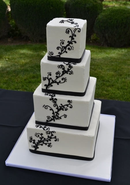 Black Filigree Wedding Cake