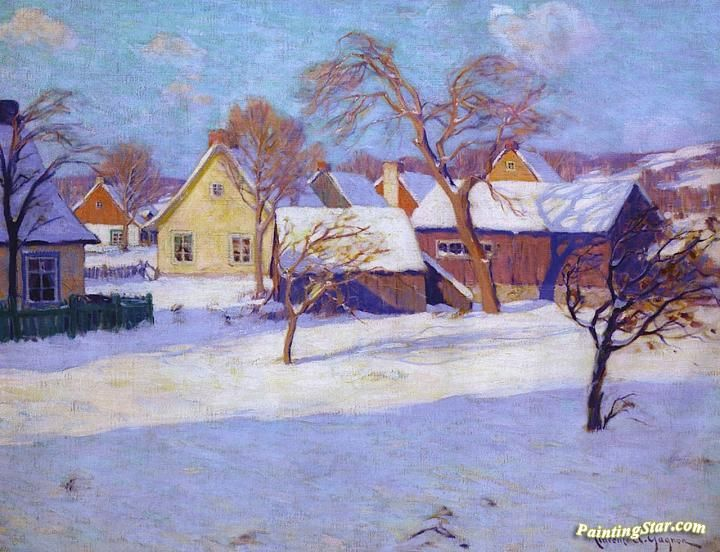 Winter, Village Of Baie-saint-paul Artwork by Clarence Gagnon Hand-painted and Art Prints on canvas for sale,you can custom the size and frame