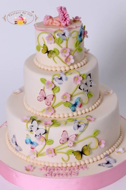 """""""Baby,Butterflies & Blossoms"""" Baby Shower Cake by Viorica's Cakes. http://www.viorica-torturi.ro/"""