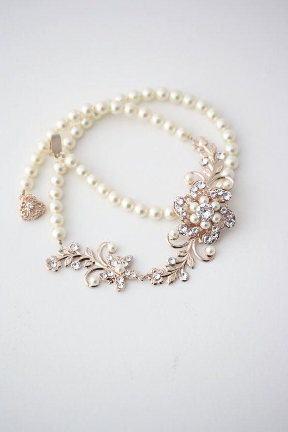 Bridal Jewelry Rose Gold Wedding Necklace Pearl by LuluSplendor