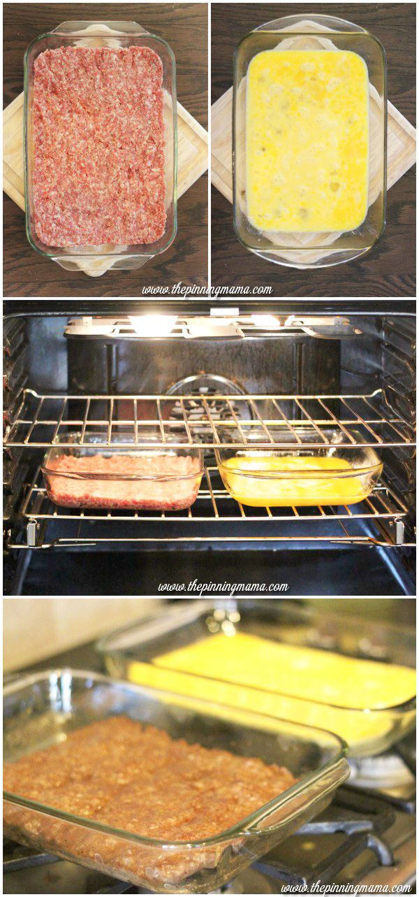 Cook sausage and eggs side by side in the oven for a quick way to feed a crowd and solve the age old dilemma of having everything hot at the same time!