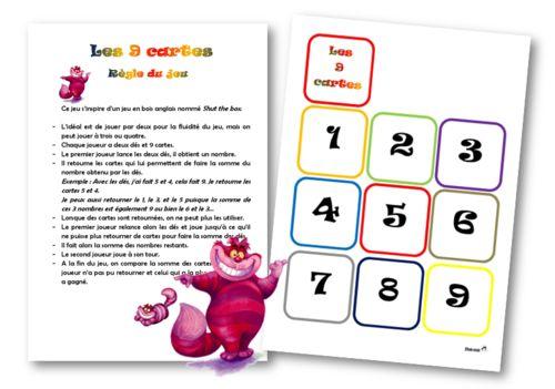 le jeu des 9 cartes Le premier joueur lance les deux dés, il obtient 11 par exemple. Il peut alors retourner le 8 et le 3, ou le 9 et le 2 etc Lorsque ces nombres sont retournés, il ne peut plus les utiliser. Il rejoue jusqu'à ce qu'il ne puisse plus effectuer la somme des dés avec les nombres restants. Il calcule ce reste. Le second joueur joue à son tour. Lorsque tous les joueurs ont terminé, ils comparent la somme des nombres restant à chacun : celui qui a la plus petite somme a gagné.