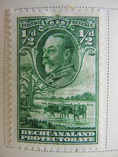 """1932 Scott 105 1/2p green """"George V, Cattle and Baobab Tree"""" Quick History Bechuanaland Protectorate was located north of the Union of South Africa, east of South-West Africa, and bounded by Angola and Southern Rhodesia. The country of 120,000 (In 1904) with a capital of Vryburg ( to 1895), then Mafeking, was a """"Protectorate"""" of Great Britain until it achieved its' independence as the Republic of Botswana in 1966. Initially, the stamps of Bechuanaland were overprinted """"Protectorate"""" in 1885…"""