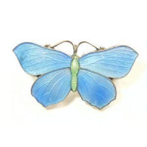 Early 1900s silver enamel butterfly brooch - so beautiful
