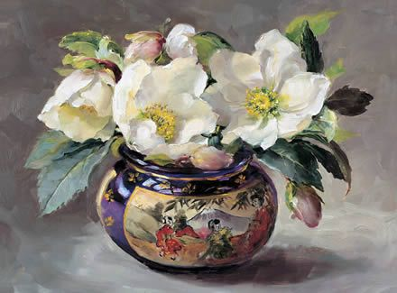 Christmas Roses in a Japanese Pot   Mill House Fine Art – Publishers of Anne Cotterill Flower Art