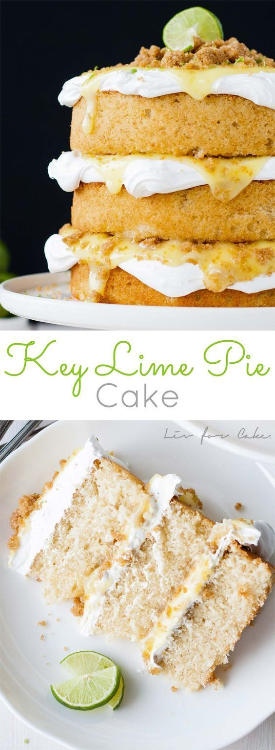 Classic Key Lime Pie transformed into a delicious layer cake. Graham cracker cake topped with light-as-air meringue, key lime curd, and graham cracker crumble.   livforcake.com