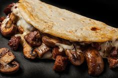 mushroom and chorizo quesadillas