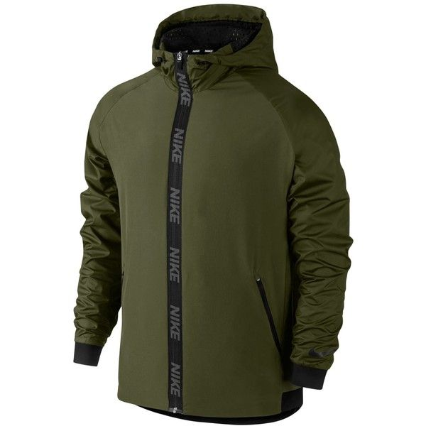 Nike Men's Dri-fit Hooded Training Jacket ($90) ❤ liked on Polyvore featuring men's fashion, men's clothing, men's activewear, men's activewear jackets, army green and mens activewear
