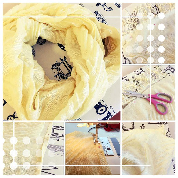 Återbruk av gamla sjalar genom att sy omlotthalsdukar av dem! Infinity scarf, diy, reuse