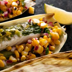 Corn-Husk-Wrapped Grilled Halibut with Charred Corn Salsa Recipe
