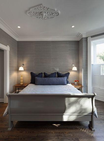 Monochromatic gray, love the gray grasscloth wallpaper!