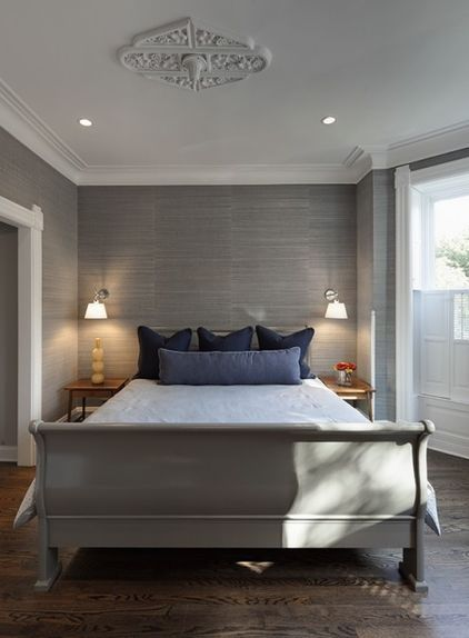 Monochromatic gray, love the gray grasscloth wallpaper!