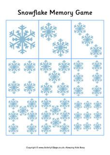 Snowflake Memory Game Card for Kids