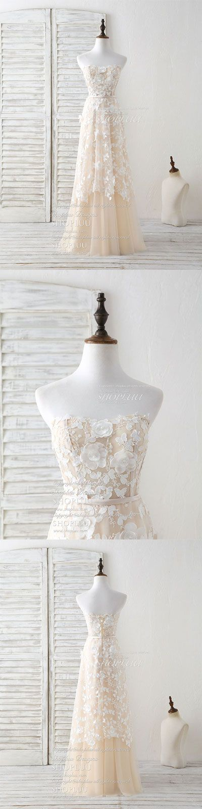 Champagne tulle lace applique long prom dress champagne evening dress, unique champagne tulle lace wedding dress