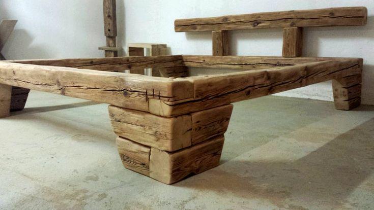 Altholzbalkenbett 180x200cm Handgehackt Holznägel Etsy