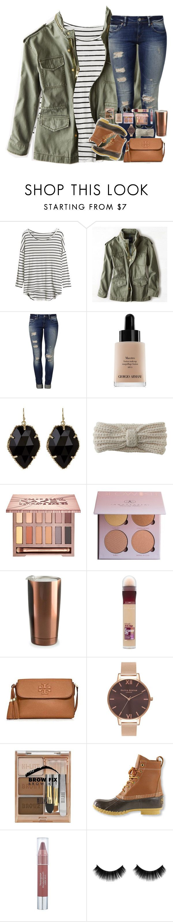 """""""yassssss """" by mehanahan ❤ liked on Polyvore featuring American Eagle Outfitters, Mavi, Giorgio Armani, Kendra Scott, Aéropostale, Urban Decay, Anastasia Beverly Hills, Asobu, Maybelline and Tory Burch"""