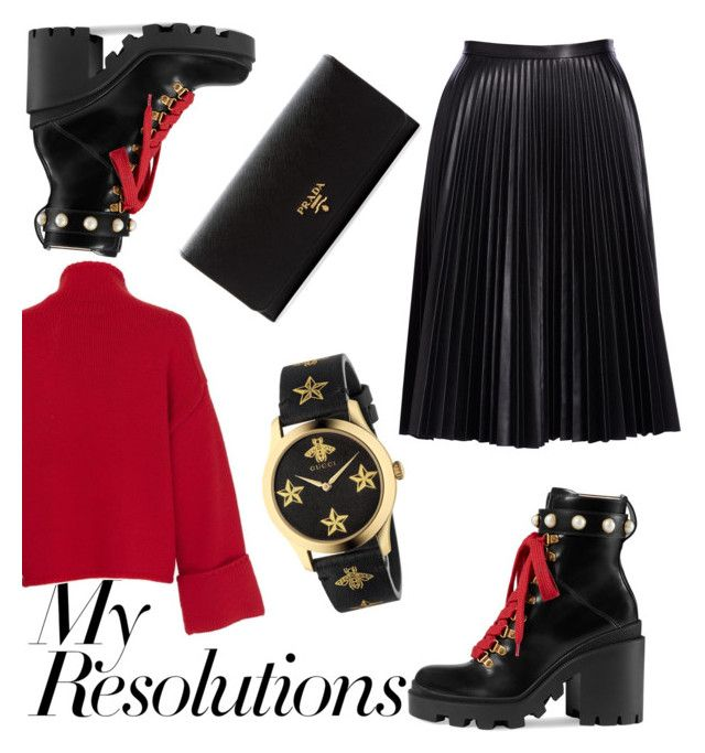 """""""#PolyPresents: New Year's Resolutions"""" by geopaganeli on Polyvore featuring Gucci, Cusp by Neiman Marcus, Amanda Wakeley, Prada, contestentry and polyPresents"""