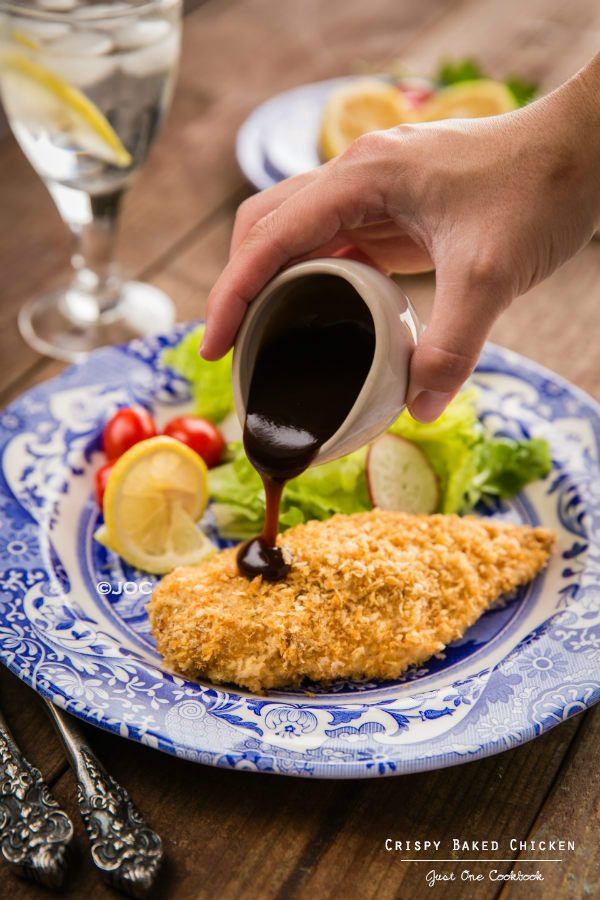 "Crispy Baked Chicken (Chicken Katsu) - ""This Crispy Baked Chicken (non-fried Chicken Katsu) recipe is super easy and much healthier option too as it's oven baked."" - (This does not include the recipe for Tonktsu Sauce.)"