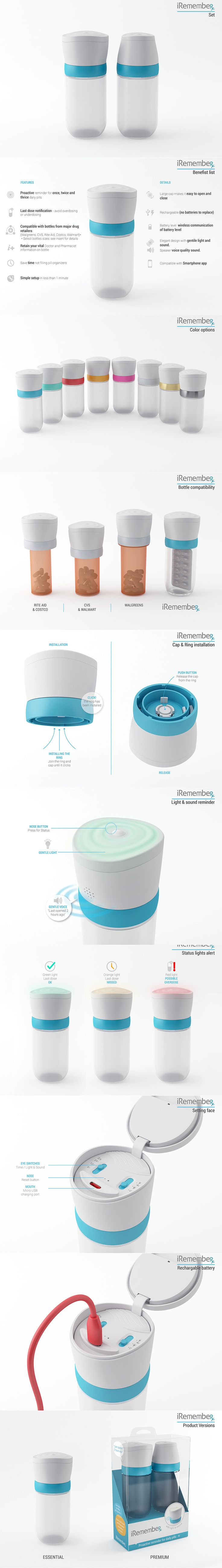 iRemember is an intelligent pill cap that fits most standard Rx bottles dispensed at major US pharmacies and gives proactive reminders and notifications.  Pre-order it! https://www.wealthtaxi.com/   Credits   Idea and product development: Moore Greenberg - Wealth Taxi, Inc. Product development: Gil adar Design: Moop Engineering: d-cube designs
