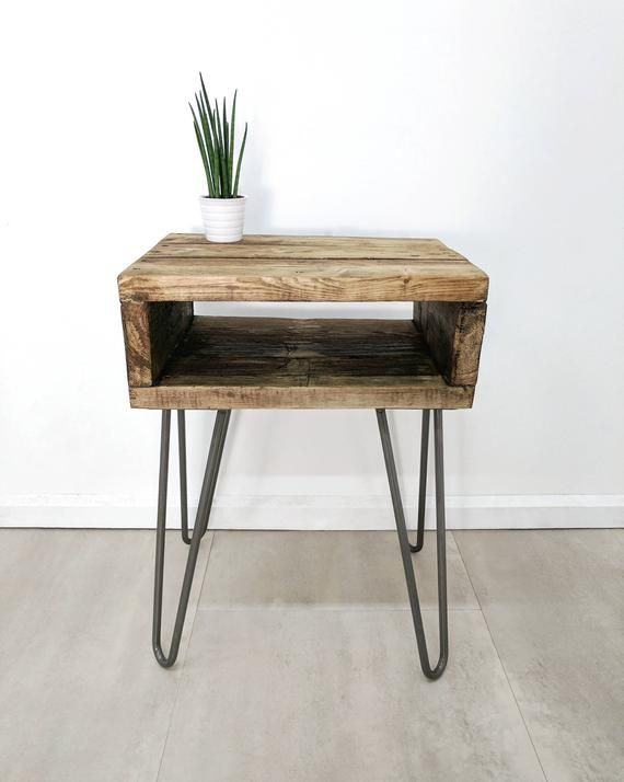 Retro Side Table Noa In Roast Coffee Finish With Hairpin Legs