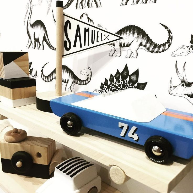 Dinosaurs and cars!  Yep - we love this pic by @its_maybaby featuring the beautifully blue @Candylabtoysau Blu74 and the White stripe elegance of the Kiko car.  Wooden toys that look shiny and sleek. The dinosaur print is from @dinorawkids. I totally love it. This Shelfie is how I would like my house to look...it's not this way at all especially on a Sunday or Monday and definitely not a Friday but hey - I can dream. http://www.lucaslovescars.com.au