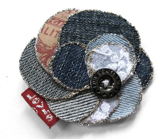 Romantic denim flower for brooch or hair blue by ceciliaelfving, $9.00