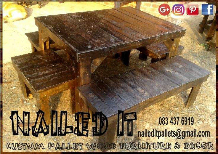 6 Seater table with benches. Dark stained. Suitable for indoor & outdoor use. #naileditpallets #naileditpalletfurniture #nailedpalletfurnituredurban #custompalletfurniture #custompalletfurnituredurban #palletfurniture #palletfurnitureamanzimtoti #palletdiningtable #pallettable