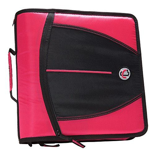 Case-it Mighty Zip Tab 3-Inch Zipper Binder, Neon Pink, D...